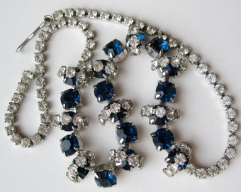 Vintage 50s Sapphire Blue Rhinestone Choker Glamour Girl Necklace