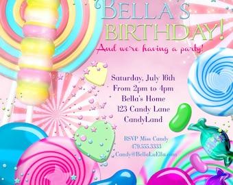 Candy Land Birthday Party Invitation, Birthday Party Invitations, Candy Party, Party Invitations