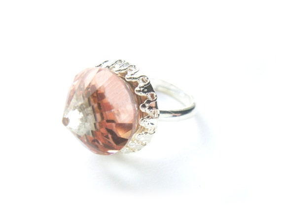Extremely Rare Pink Peach Vintage Swarovski Crystal Ring