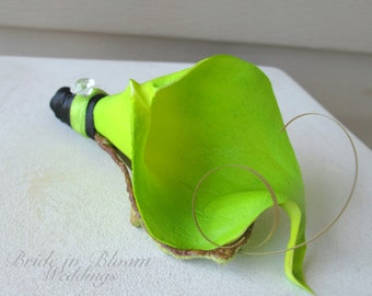 Lime green calla lily wedding boutonniere Groom groomsmen boutonnieres