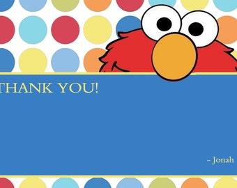 Elmo blank thank you notes, elmo thank you cards, elmo polka dot note cards, diy print thank you notes, sesame street thank you notes, elmo