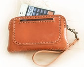 SALE, Hand Sewn Leather Wallet / Wristlet Pouch in Orange