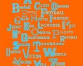"My Sports ABCs - 16x20"" Print - Aqua and Orange - Perfect for Boy's Room"
