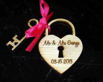 Heart and Key Wedding Favors 90 pieces Love Lock Personalized