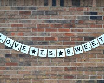 Scrabble Banner  ..  Wedding banner  ...    Burlap