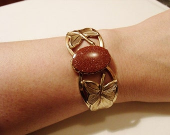 Goldstone Bracelet with Leaf Accents