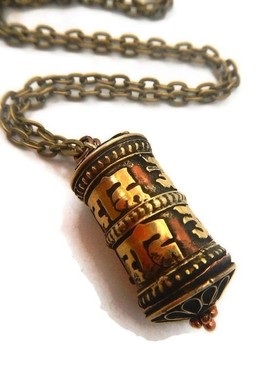 prayer wheel necklace tibetan prayer wheel by