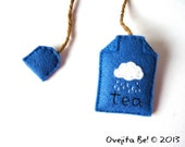 Felt teabag bookmark - Rainy Day in blue