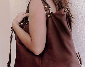 """Handmade leather tote, messenger bag ,named Valeriana ,in  a warm brown color """"bruciato"""""""