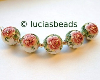 NEW Beautiful  Japanese Tensha Beads Pink Rose on White 12 MM