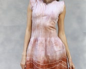Ombre Felted pointelle dress. Seamless felted Wool Dress OOAK blush pink dress romantic style ohtteam