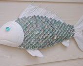 Nautical Wall Decor Metal Fish with Aqua Limpet Shell Scales -  White or Gray with Aqua Limpet Shells