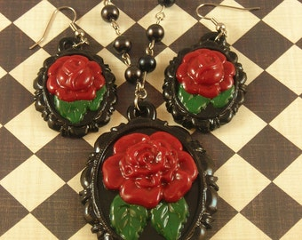 Gothic Black Rose Cameo Necklace and Earring set