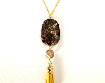 Gemstone Jewelry / Pendant necklace / Gold filled rolo chain necklace with stone and suede pendant / Valentines day gift / Gift for her
