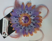 Lavender and Coral Flower Hair Clip