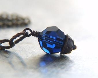 Blue Crystal Necklace - Crystal Charm Necklace - Swarovski Crystal Necklace - Shimmer Glitter Jewelry - Bohemian Jewelry