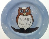 SALE - Owl Ceramic Plate - Owl Decorative Hand Painted Plate - REDUCED