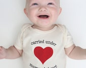 Baby Valentine's Day gifts, gender neutral baby bodysuit, first Mother's Day gift, Mommy's Heart, organic baby clothing, new mom gift