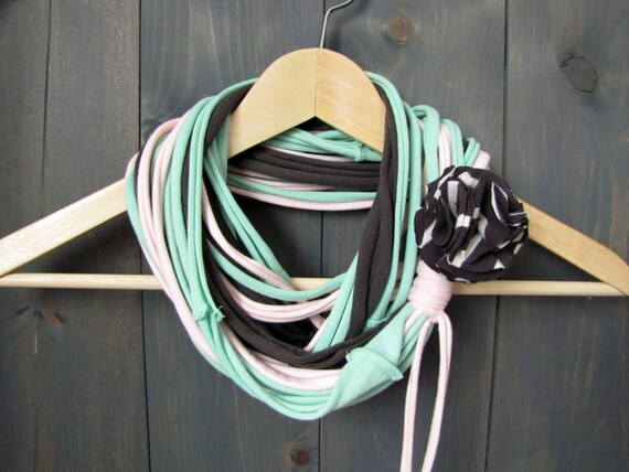 Pastel Combo-Gray, Pink & Mint Jersey Infinity Scarf/Necklace