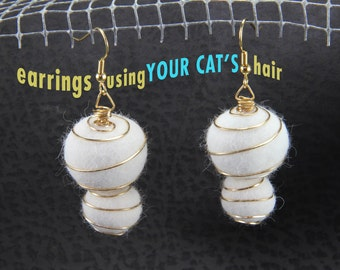 2 Orb Earrings using YOUR CAT'S Hair