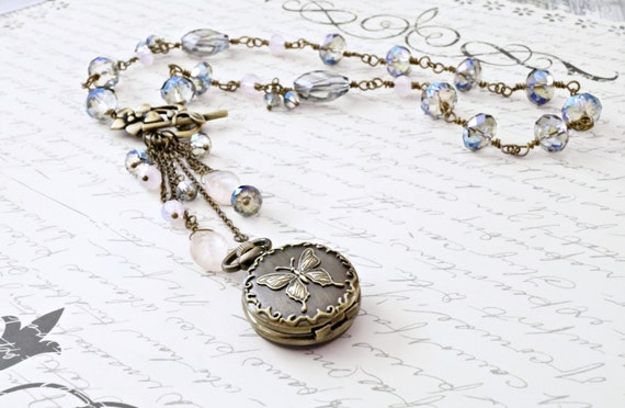 Butterfly Necklace, Steampunk Necklace, Pocket Watch Necklace, Victorian Necklace, Pinks and Blues - OOAK - Amelia's Necklace