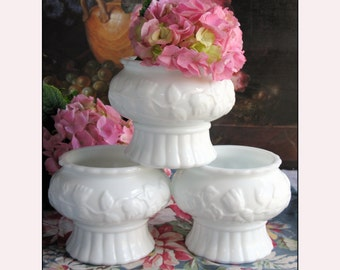 Milk Glass Planters / Wedding Centerpiece / Milk Glass Centerpiece Collection of Three for Candles or Flowers