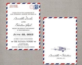 "Modern Vintage Wedding Invitations, 5x7, Wedding invitations, Airmail designThe ""Annabelle"""