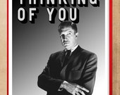 Love card Thinking of You Card, SciFi Art, retro art, Geek love, black and white, alternate histories, geekery, vincent price, thriller