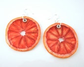 Blood Orange Earrings - Real Fruit Jewelry