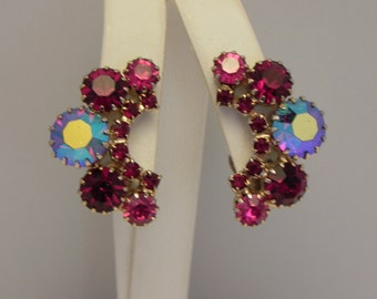 Gorgeous Red Pink Designer Vintage Rhinestone Clip Earrings