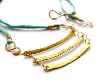 Cascading Brass Bar Bib Necklace with Turquoise Silk Cord in Primitive Bohemian Style