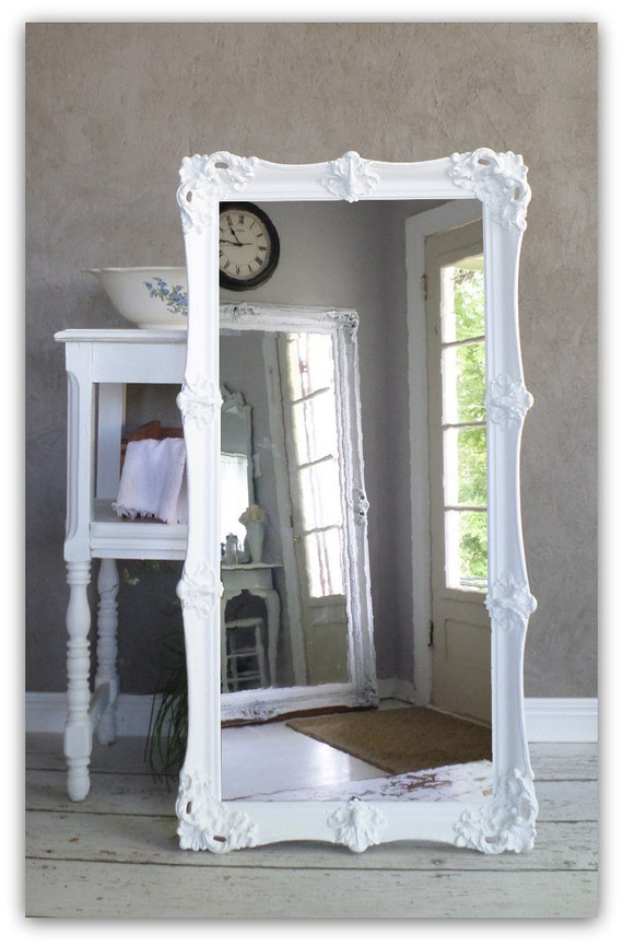 Leaning white baroque mirror large shabby chic mirror for Large white mirror