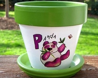 Children's Flower Pot Garden Kit, Panda Bear Painted