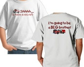 Shhh I have a secret i am going to be a big brother personalized custom t-shirt FIRETRUCK AMBULANCE design 2 sided