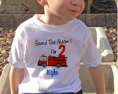 Sound the Alarm Fire Truck birthday Shirt Personalized with name and age - firetruck shirt - firetruck Birthday Shirt - fireman shirt