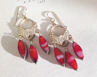 Allegory of Spring Earrings in Blood Orange - Art Nouveau style chandelier earrings