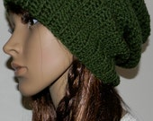 Slouchy Dark Green Crochet Beanie