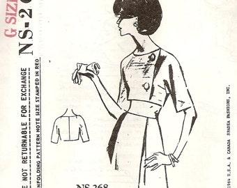 Vintage 1960s Spadea NS 268 Lachasse of London  Short Side Button Jacket Sewing Pattern Bust 34 Nicole Kidman Michelle Obama