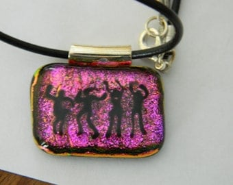 Fused Glass Pendant Dancing People hot pink dichroic