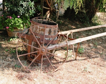 Country Home Decor - Rustic Farmhouse Photography - Greece Winery Photograph - Wine Barrel Wagon Wheel - Brown Green Rust - Art Print