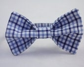 Blue Plaid Clip on Bow Tie - Infant, Toddler, Boys
