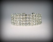 Bridesmaid Bracelet, 4 Row Rhinestone Wedding Bracelet Cuff, Crystal Bracelet