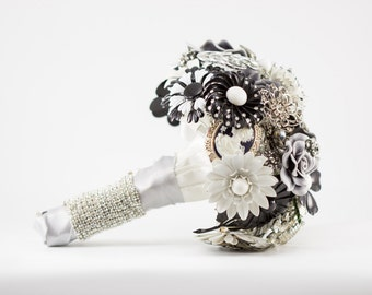 Black & White Brooch Bouquet Sale | Neutral Grey Gray Monochromatic Crystal Bling Rhinestones Flowers In Stock Bouquet Ready To Ship 1000041
