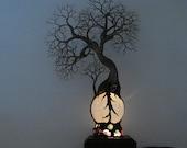 Full Moon Rising Tree Of Life Elder Spirit sculpture White Selenite Sphere Gemstone Lamp, Wood base, Weddings, Anniversary, Christmas gift