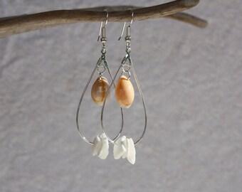 Sea Shell Earrings Seashell Earrings, Beach Jewelry, Coral Hawaii Jewelry Hawaiian Jewelry, Beach Shell Earrings Ocean Sea Shell Jewelry 004
