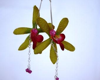 Orchid Flower Earrings Hawaii Flower Floral Earrings, Hawaiian Jewelry Hawaii Jewelry, Green Earrings Tropical Flower Statement Earrings 012