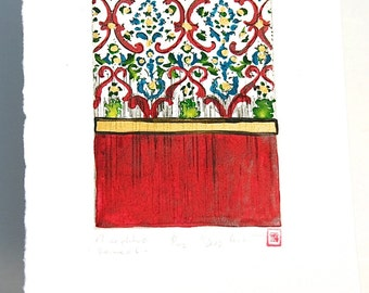 Morocco - Original Etching, red