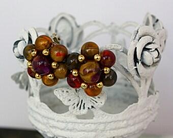 Vintage 80s Bead Earrings Jeweltone Plastic & Gold Metal Beads Clip Backs