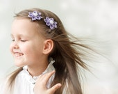 Girl hair clips - Pastel purple flower girl hair clips - Flower girl hair clippies - Toddler spring accesssories