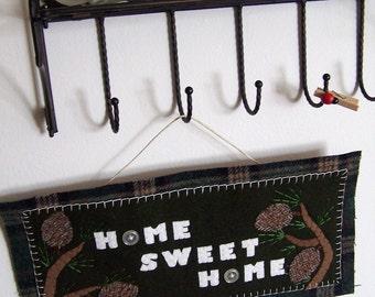 Pine Home Sweet Home Sign- Reclaimed wool felt- Sale!
